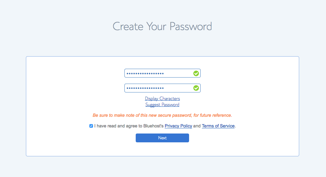 bluehost password