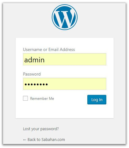 wordpress dashboard login