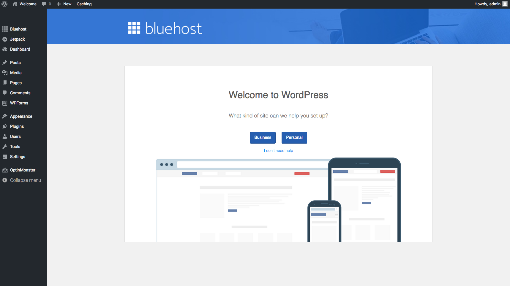 wordpress welcome bluehost