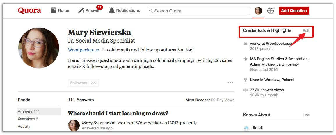 optimize quora profile