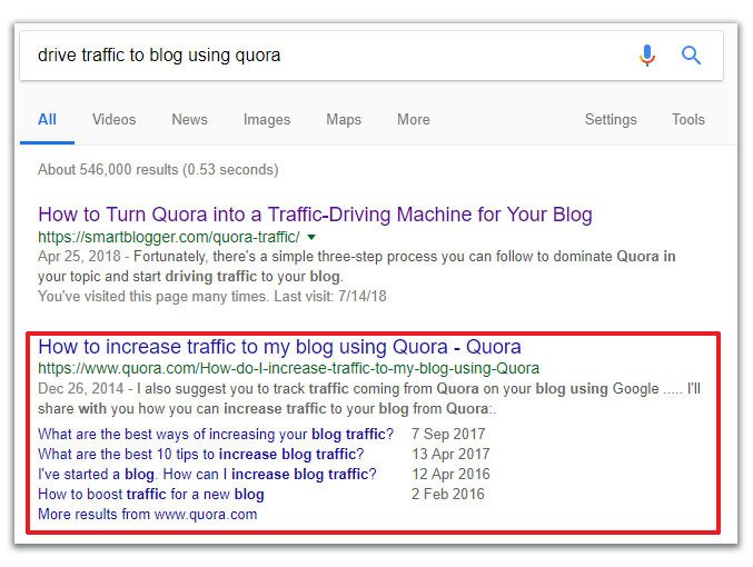 organic google traffic to quora
