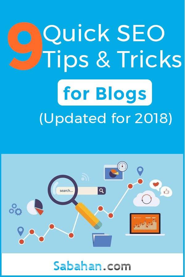 9 SEO Tips and Tricks for Blogs. #seotips #seotricks #blogseo