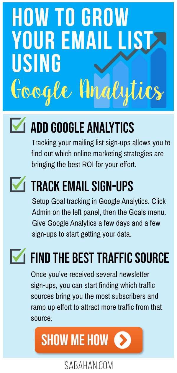 How to Grow Your Email List Using Google Analytics Goals Tracking. #emailmarketing #emailmarketingtips #emailtips #emailoptinideas