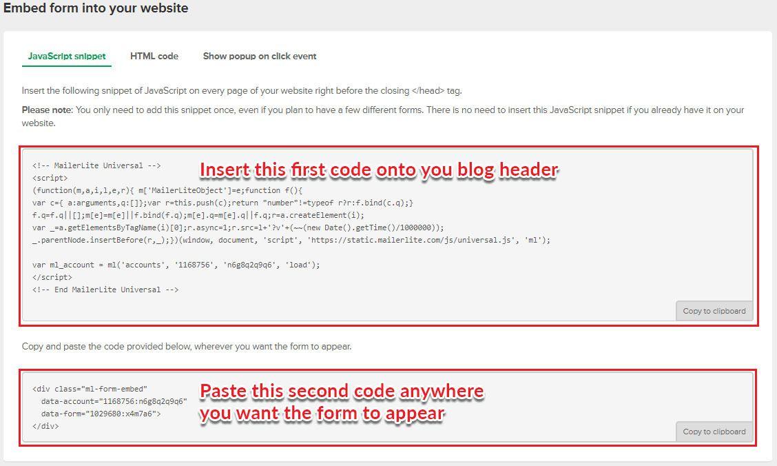 opt-in html code