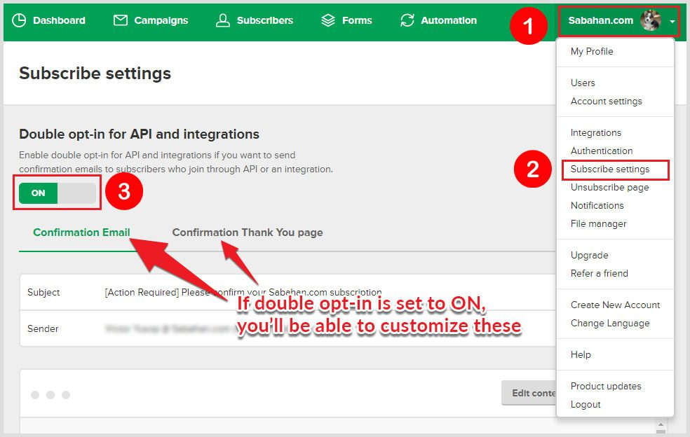 enable or disable double opt-in