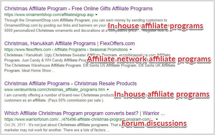 search affiliate programs niche
